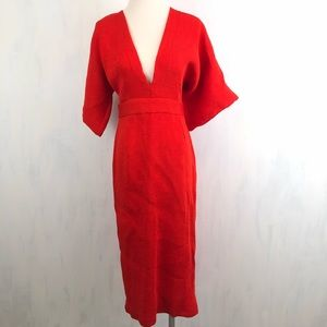 378c4058fd Topshop Dresses - NEW Topshop Red Textured Plunge Midi Dress 8